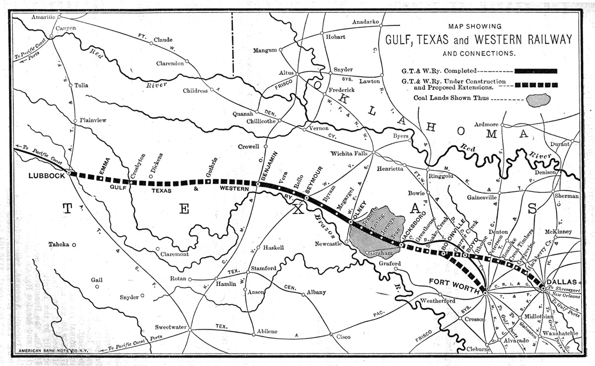 Gulf Texas Western Railway Company Map Showing Proposed Route In 1910