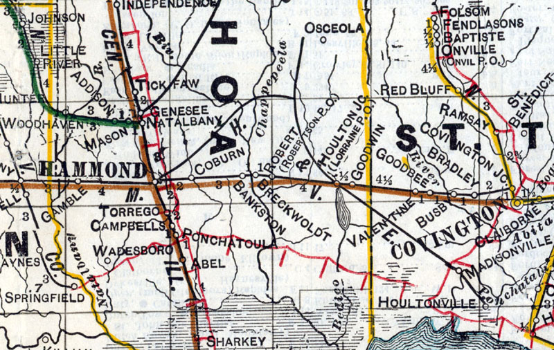 Hammond Eastern Railroad Hammond Lumber Company at Hammond La Map