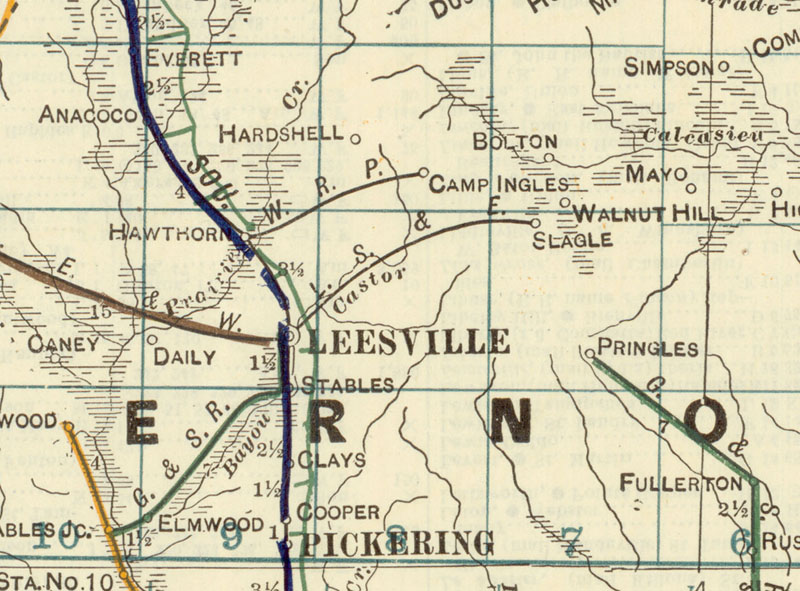 Slagle Eastern Railway Company Vernon Parish La Map Showing
