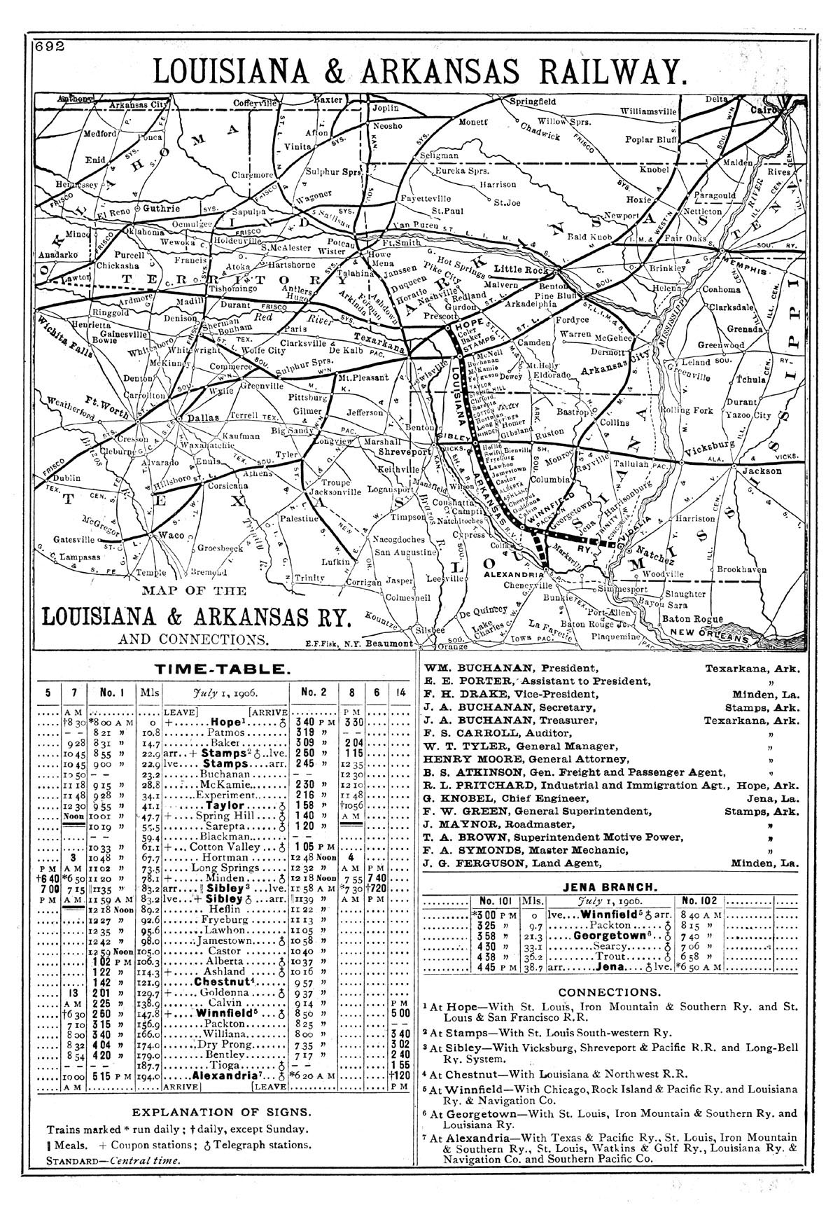 Arkansas Railway Company Ark La Miss Public Timetable and