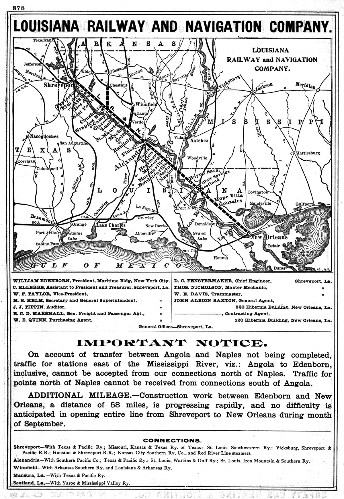 Railway Navigation Company Public Timetable and Map Showing Route