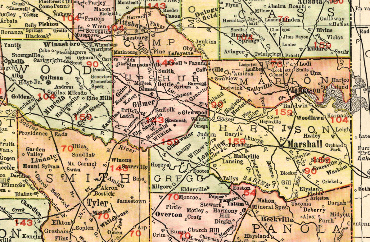 East Texas Railway Company Tex Map Showing Route In - Map of east texas