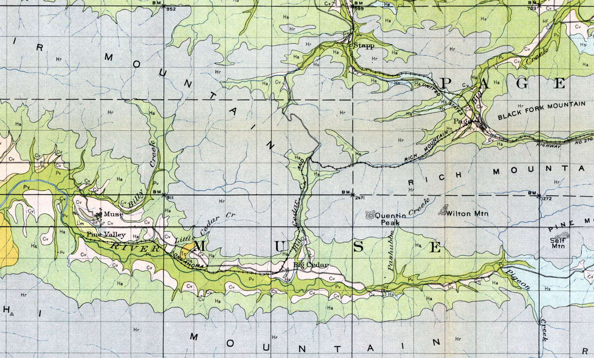 Rich Mountain Railroad Company Okla Map Showing Route In - Okla map