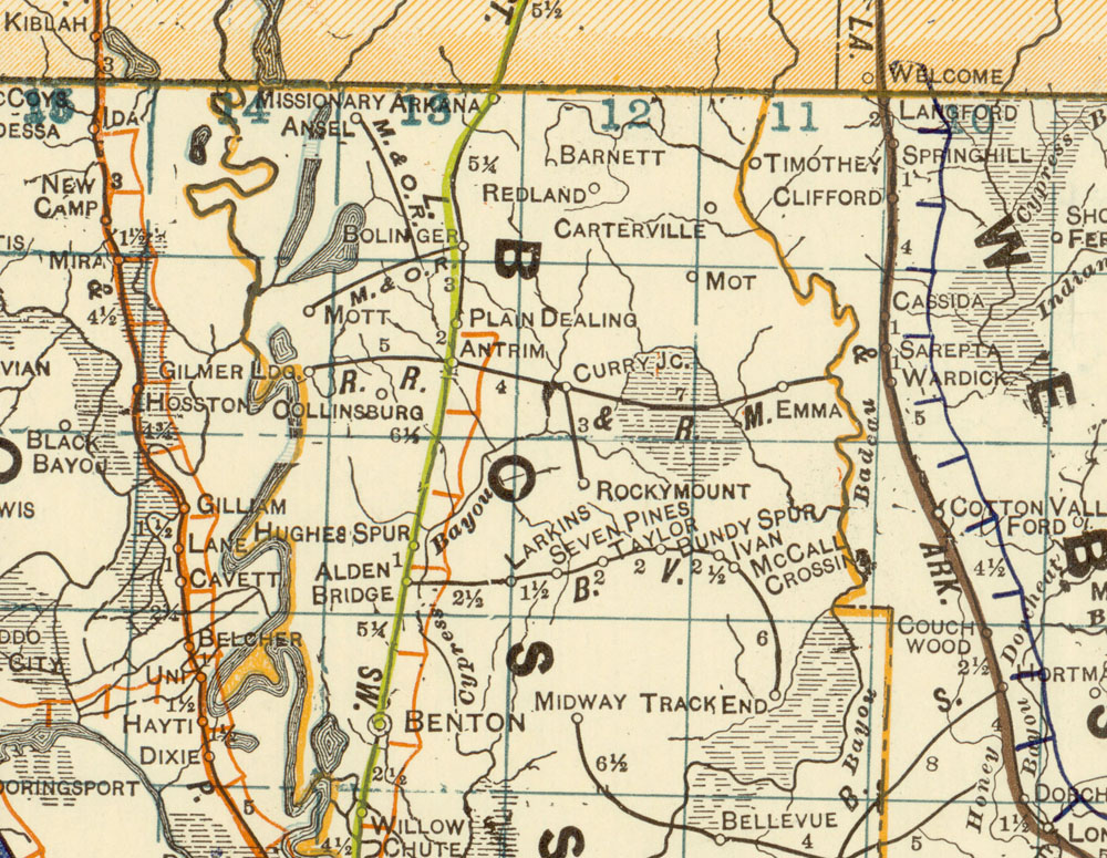 River Rocky Mount Railway Company La Map Showing Route in 1922