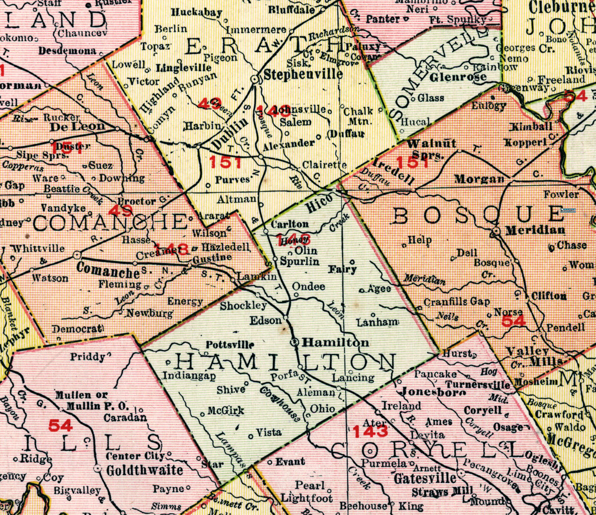 Map Of Texas Railroads.Stephenville North South Texas Railway Company Tex Map Showing