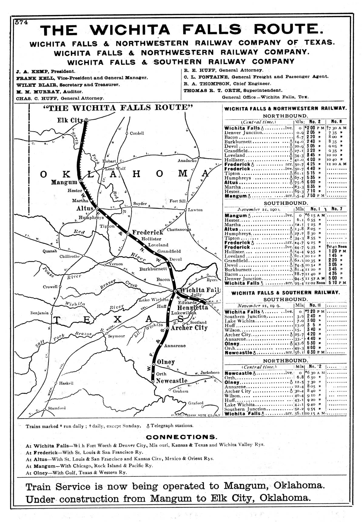 Falls Northwestern Railway Company Tex Map Showing Route in 1910