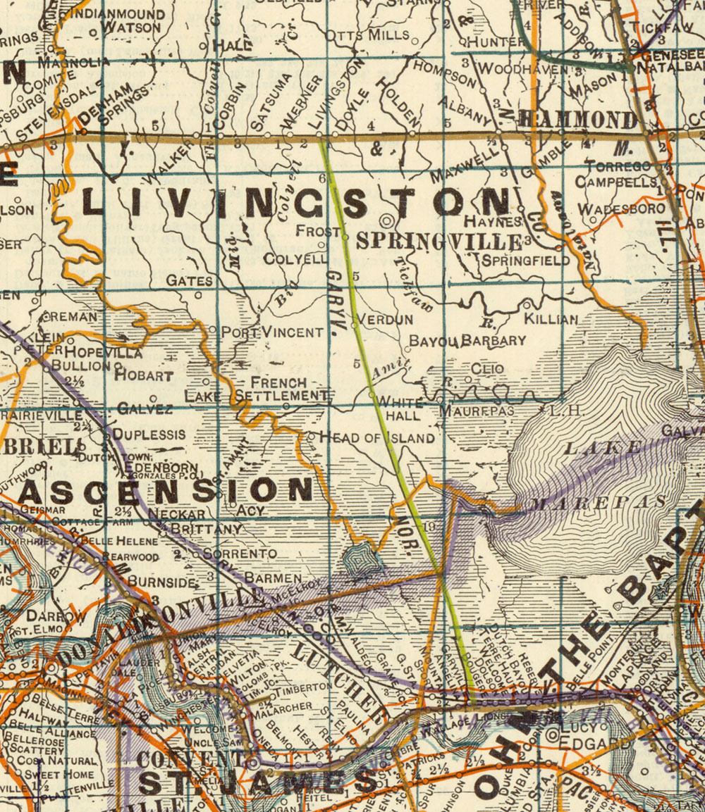 Garyville & Northern Railroad Company (La.), Map Showing Route in 1922.